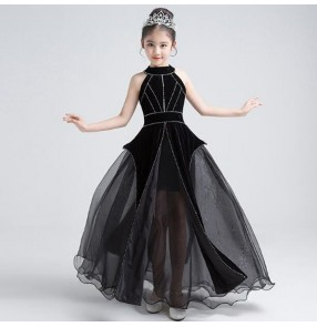 Kids princess girls jazz dancing dresses for girls black color show party model singers pianist  stage performance photos cosplay long evening dresses